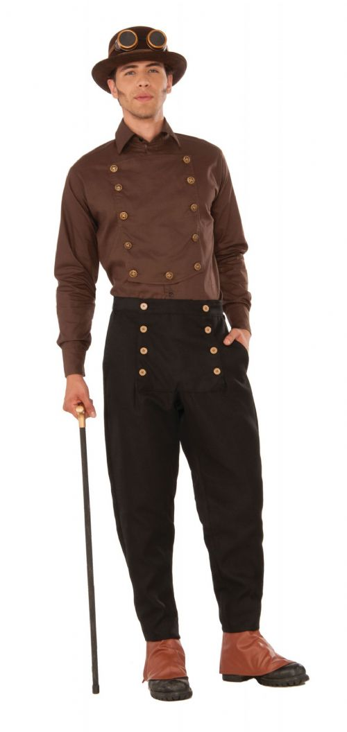 Adult Steampunk Shirt Costume Steam Punk Victorian Adventurer Fancy Dress Outfit